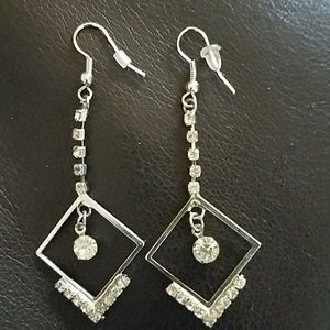 Silver dangly earrings with CZ stones